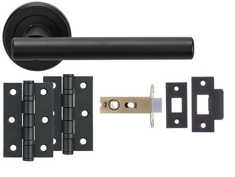 Matt Black Straight T-BAR Design COMPLETE DOOR HANDLE KITS - Latch, Lock & Bathroom Doors