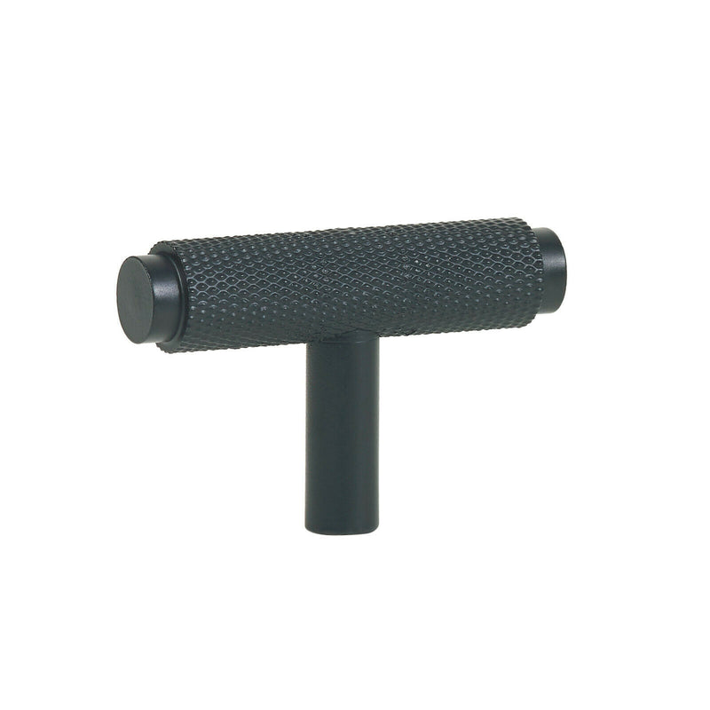 Matt Black Knurled T Cabinet/Drawer/Cupboard Pull Handle - 50mm