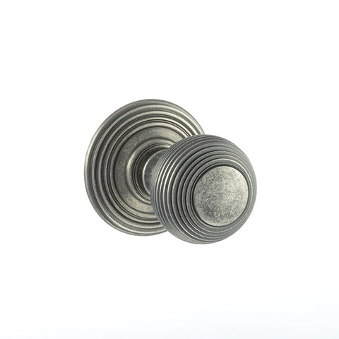 Atlantic UK Old English, OE50RMKDS Ripon Reeded Mortice Door Knobs - Distressed Silver Pewter
