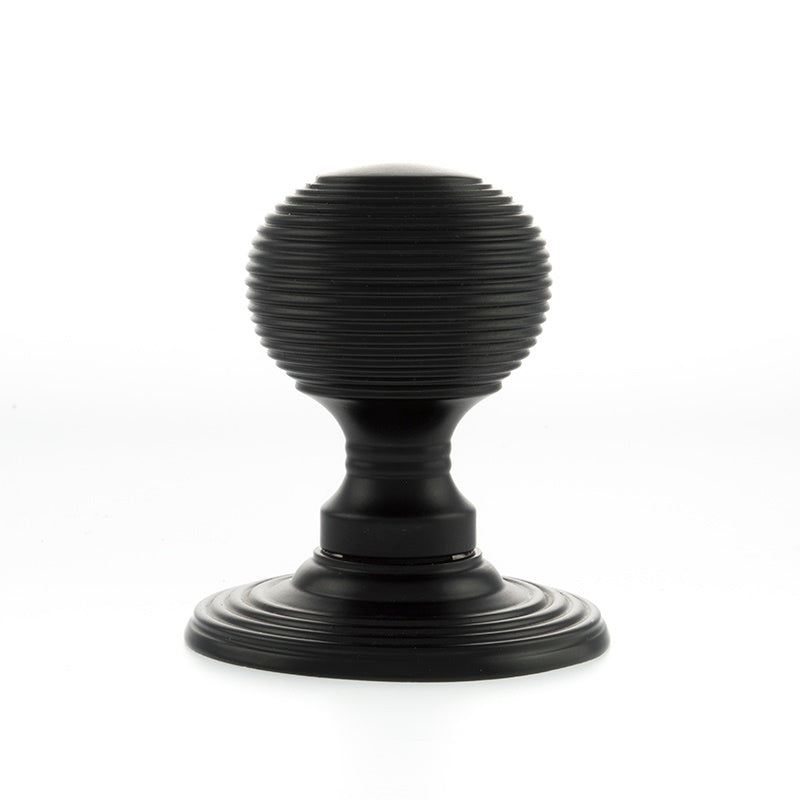 Matt Black, Atlantic UK OE50MMKMB 'Ripon' Reeded Mortice Solid Brass Door Knobs