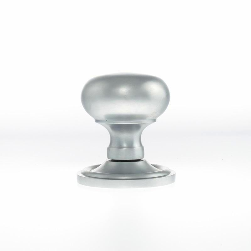 (Side View) Atlantic UK Old English, OE58MMKSC Harrogate Mushroom Mortice Door Knobs - Satin Chrome