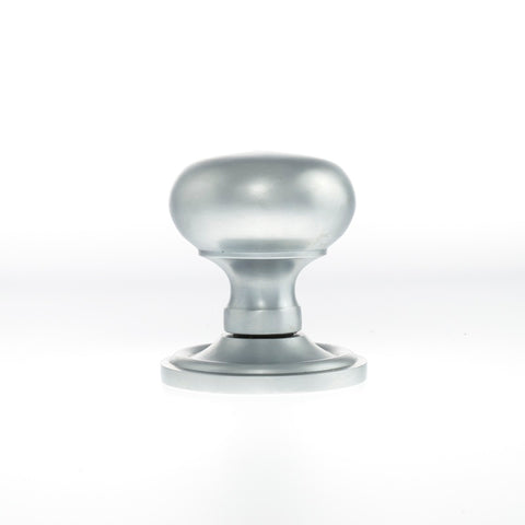 SATIN CHROME - OE58MMK Harrogate Mushroom Mortice Door Knobs (SIDE VIEW)