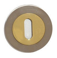 Satin Nickel/Brass Dual Finish Keyhole Escutcheon Cover Plate - S3ESCKRSNBP