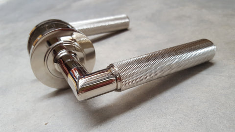 Piccadilly Knurled Door Handles - BUR40/50PN Frelan Hardware Burlington Range - PLAIN ROSE