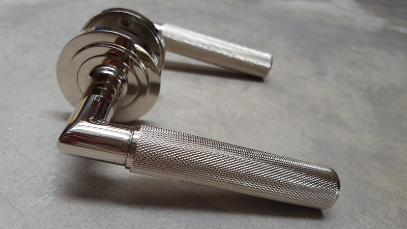 Piccadilly Knurled Door Handles - BUR40/52PN Frelan Hardware Burlington Range - Polished Nickel STEPPED ROSE