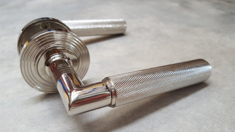 Piccadilly Knurled Door Handles - BUR40/53PN Frelan Hardware Burlington Range - Polished Nickel REEDED ROSE