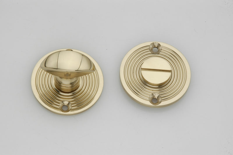 Polished Brass Reeded Beehive Design Bathroom Turn & Release