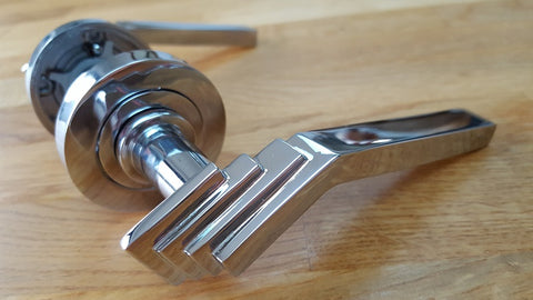 Polished Chrome Art Deco Showroom Door Handles On Rose