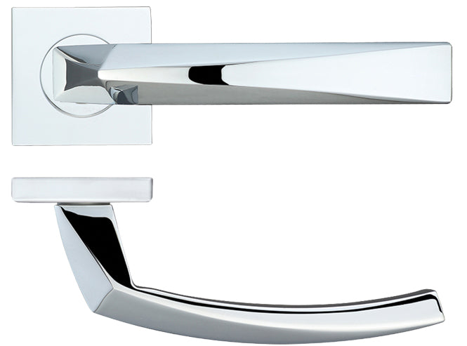 Zoo Hardware Rosso Maniglie Hydra Levers On Square Rose, Polished Chrome - RMSQ010PC