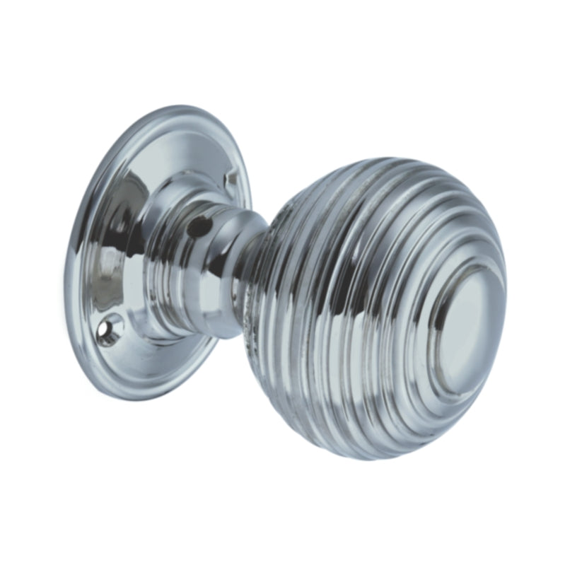 Satin Chrome Large Reeded Beehive Mortice Door Knobs, 63mm  - SB2106SCP