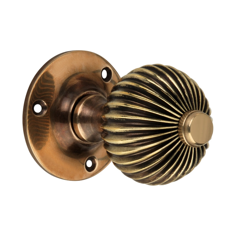 Aged Brass Regency Mortice Door Knobs (Solid Brass) - SB2111AGB