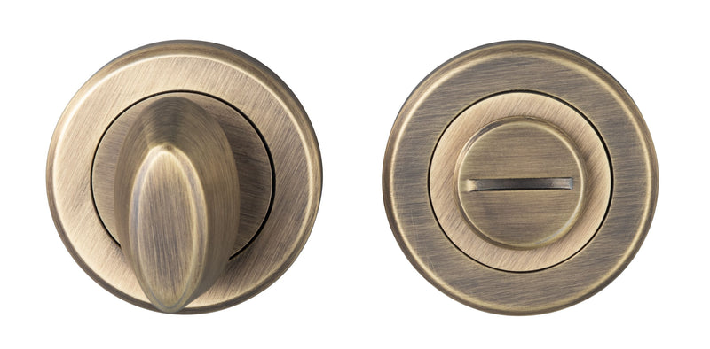 Antique Brass Bathroom Turn and Release - 50mm Rose