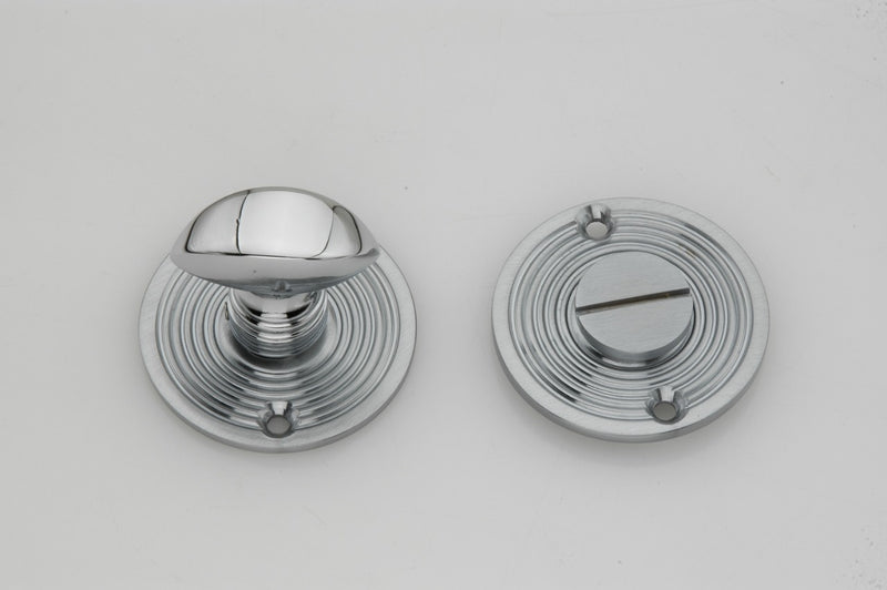 Satin Chrome Reeded Beehive Design Bathroom Turn & Release
