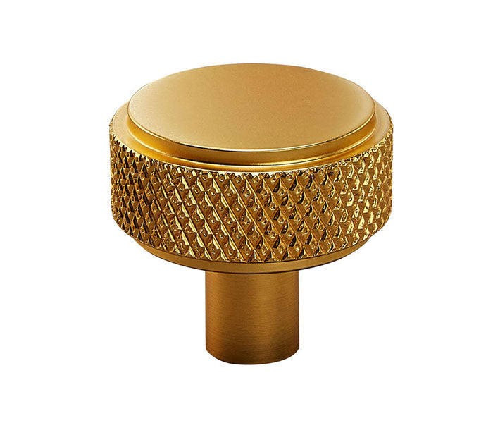 Satin Brass Knurled Industrial Chic Drawer/Cupboard Knobs - 30mm