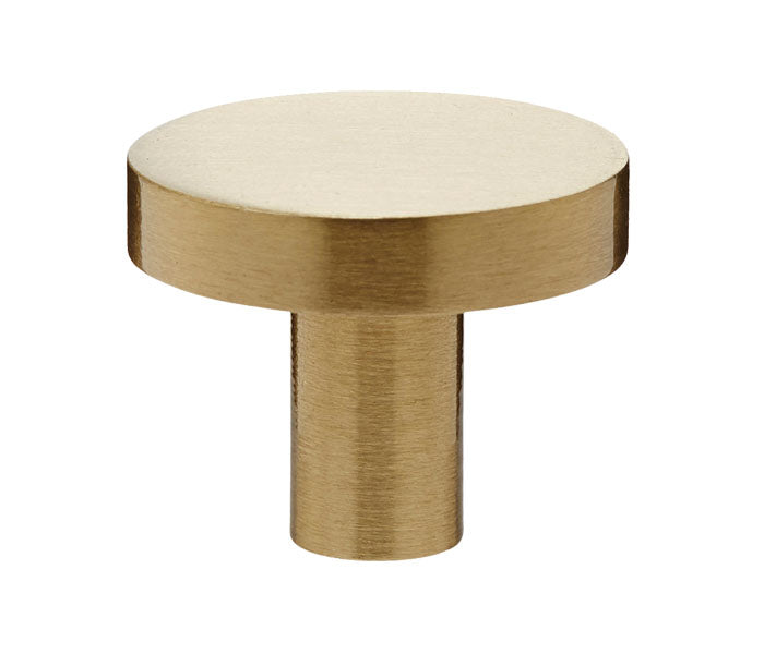 Satin Brass Industrial Style Disc Drawer Knobs, 25mm 28mm & 32mm