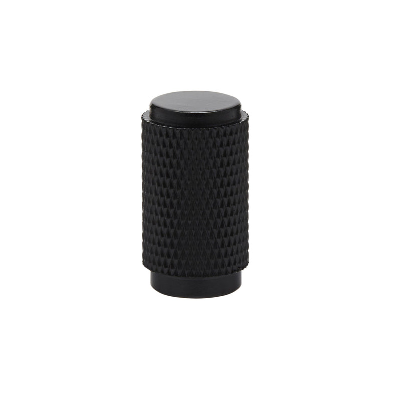Knurled Cylinder Drawer/Cupboard Pull - Matt Black Finish