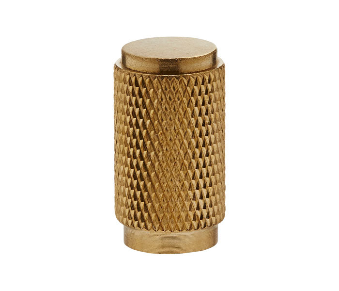 Knurled Cylinder Drawer/Cupboard Pull - Satin Brass (Brushed Gold) Finish