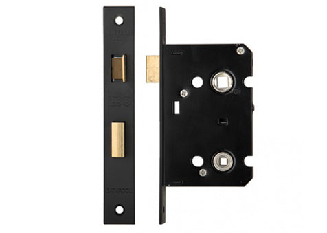 64mm Bathroom Lock Matt Black 44mm Backset