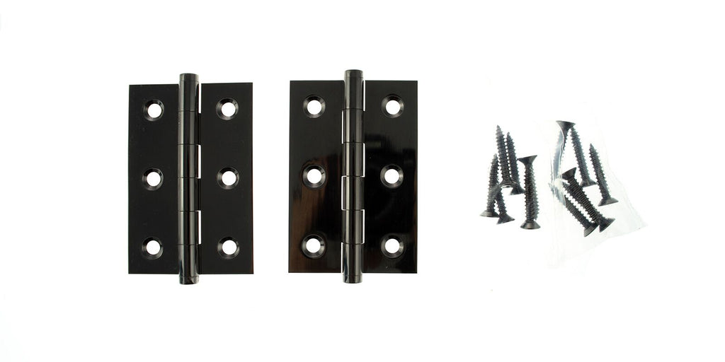 3 Inch 76mm Black Nickel Brass Butt Hinges