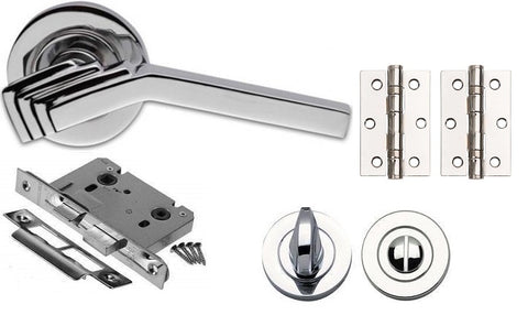 Art Deco Complete Door Handle Kit - BATHROOM Pack