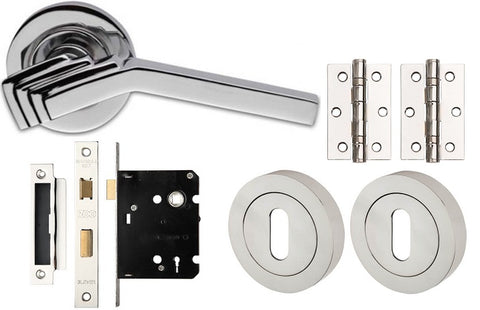 Art Deco Door Handles Pack For Locking Doors