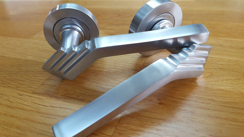 Art Deco Period Door Handles on Rose Satin Chrome - M4DAD/SC1