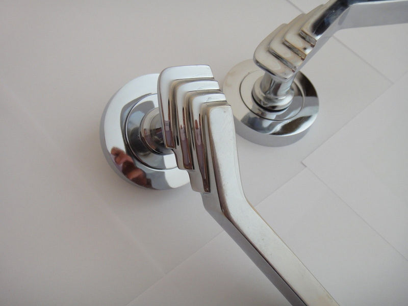 Art Deco Polished Chrome Lever on Rose - Showroom