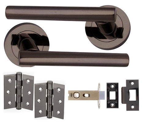 BLACK NICKEL T-BAR DOOR HANDLES ON ROSE - LATCH PACK