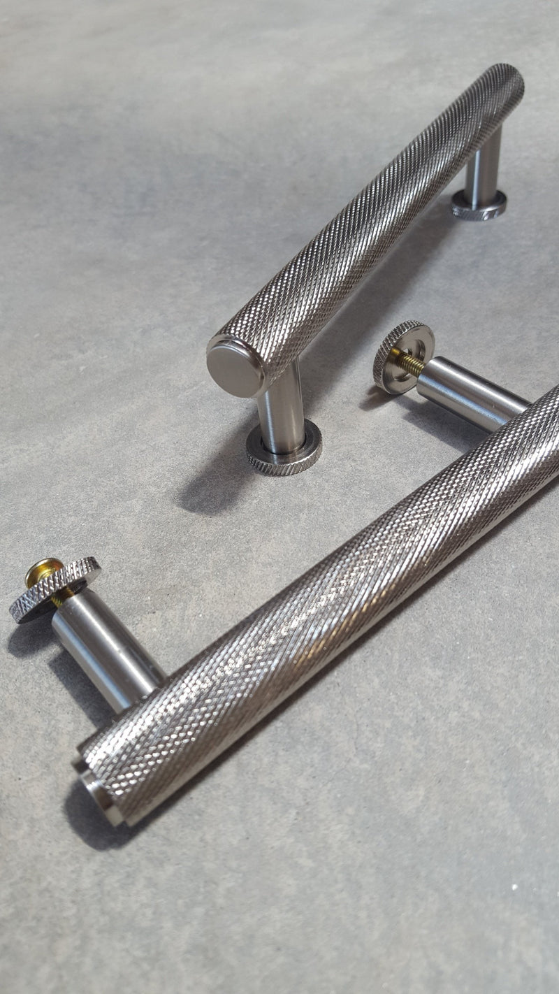 Satin Knurled Kitchen Cupboard T-Bar Cabinet Pull Handle 96mm, 128mm & 224mm