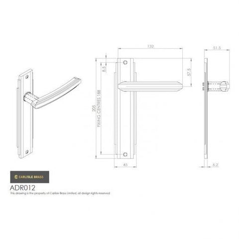 Carlisle Brass Art Deco Style Door Handles Polished Chrome - ADR011CP