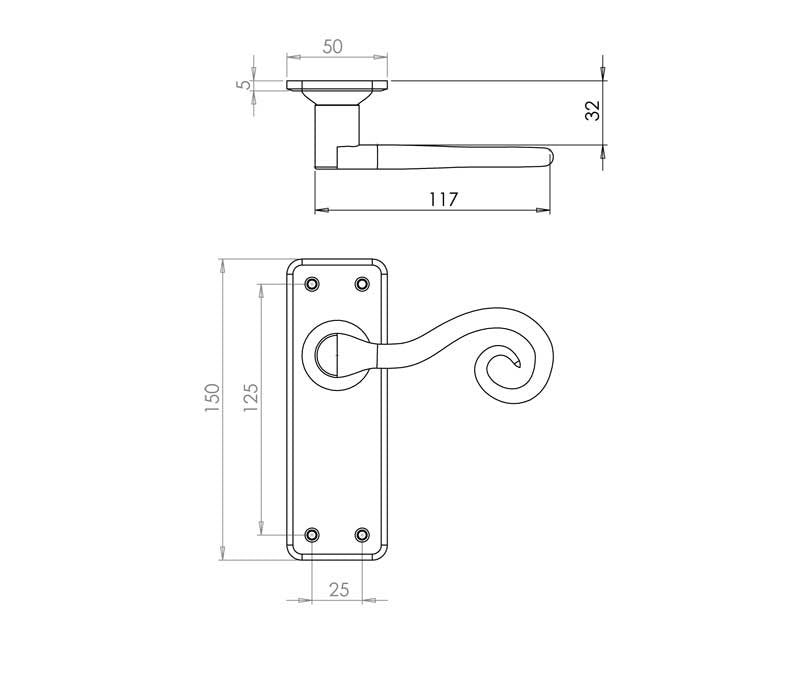 Chester Handforged Pewter Door Handles Lock