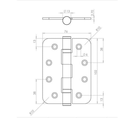 4 Inch Radiused Corner, Satin Nickel, Grade 11 Fire Rated Ball Bearing Hinges