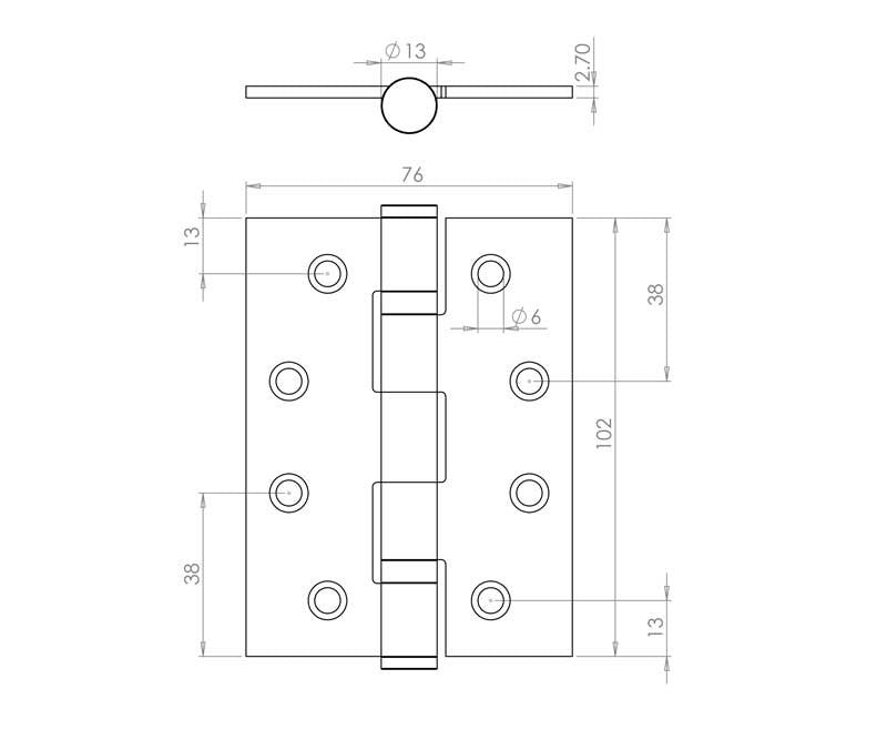 4 Inch Satin Chrome, Grade 11 Fire Rated, Ball Bearing Hinges