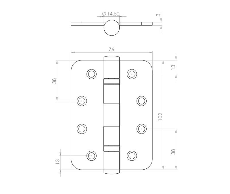 4 Inch Radiused Corner, Satin Stainless Steel, Grade 13 Ball Bearing Hinges