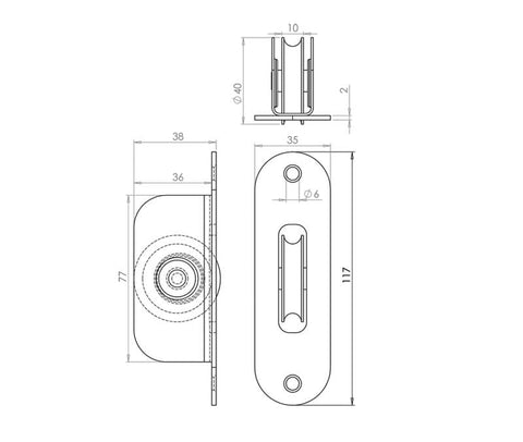 Sash Pulley With Brass Roller & Radius Faceplate J996