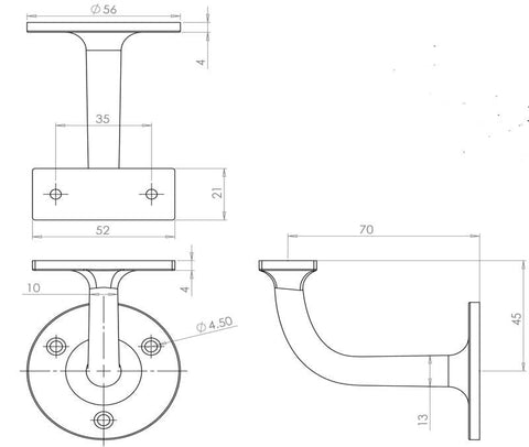 JAB91 63mm Handrail Bracket