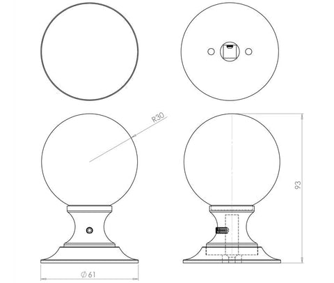 Plain Ball Glass Mortice Door Knobs - JH1150