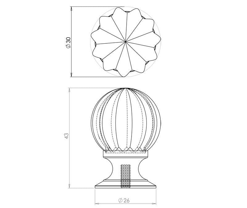 JH1152 Pumpkin Glass Cupboard Knob - Various Sizes