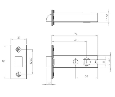 JL6666 Satin Stainless Steel/Brass Heavy Double Sprung Mortice Latch - Fire Door Approved
