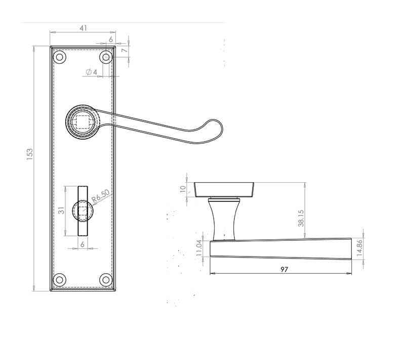 Scroll Door Handle on Backplate Pack - Bathroom Lock - Chrome/Satin Finish