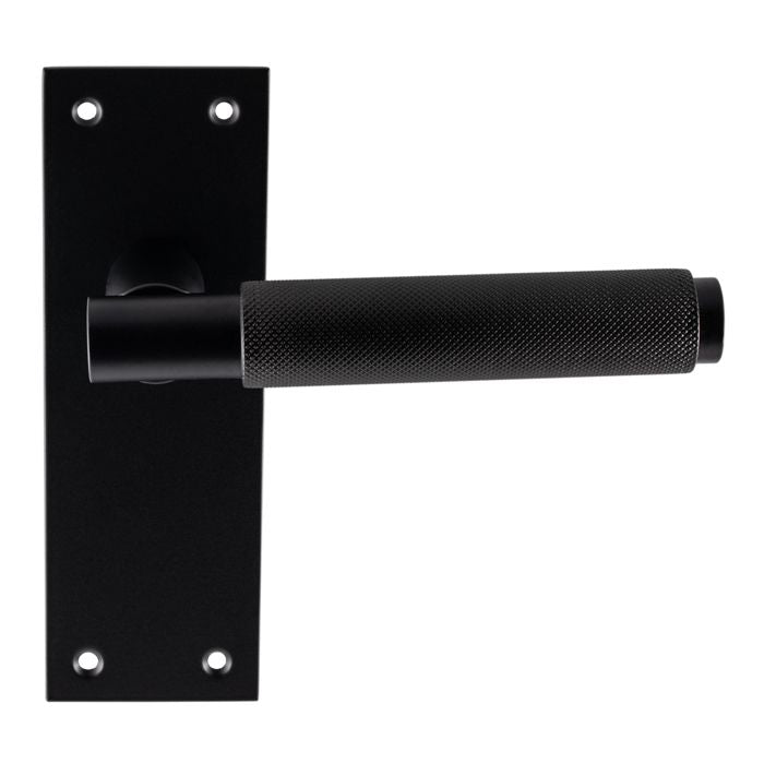 Carlisle Brass Varese Knurled Door Handles on Back Plate - Matt Black