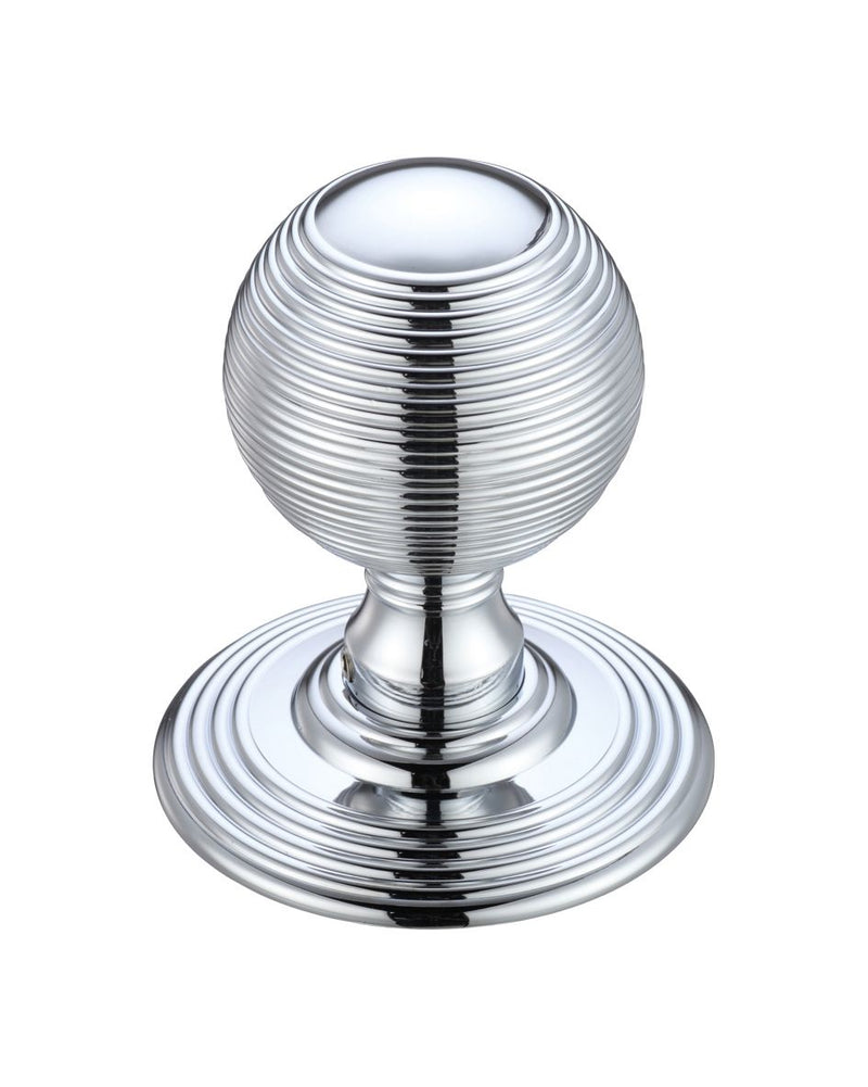 Fulton & Bray FB306CP Ringed Reeded Style Concealed Fix Mortice Knobs - Polished Chrome