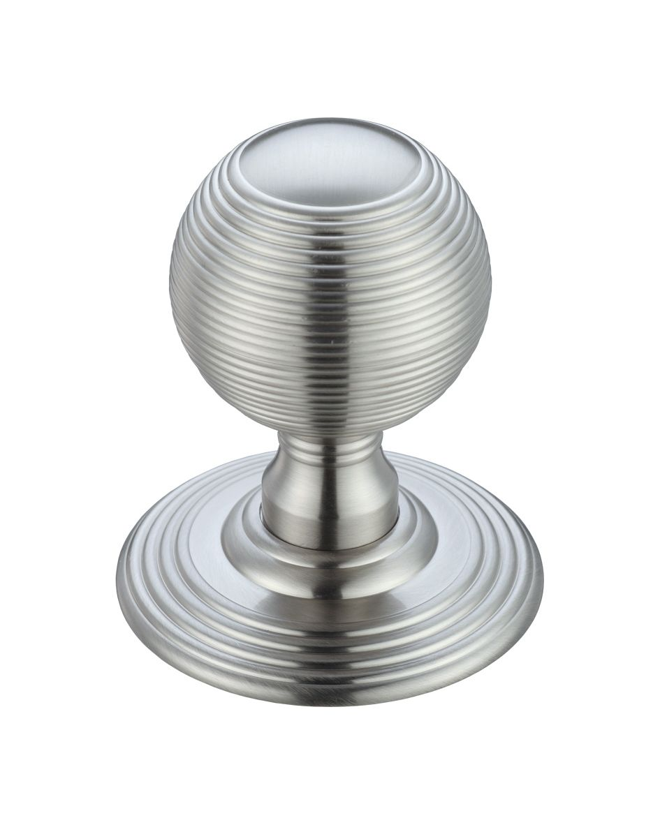 Fulton & Bray FB306SC Ringed Reeded Style Concealed Fix Mortice Knobs - Satin Chrome