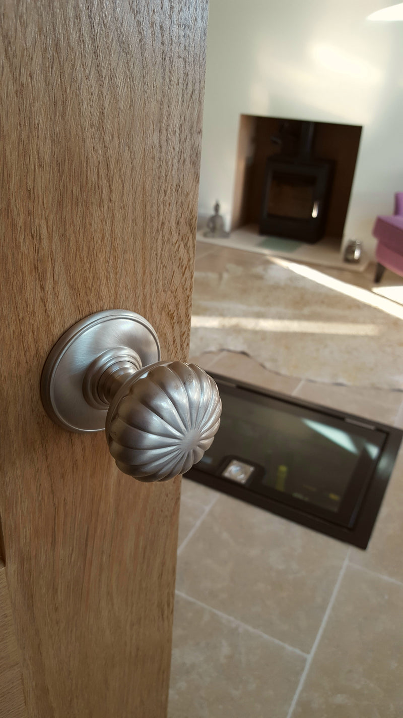 More4Doors Delamain Flower Concealed Fix Mortice Door Knob - Satin Nickel