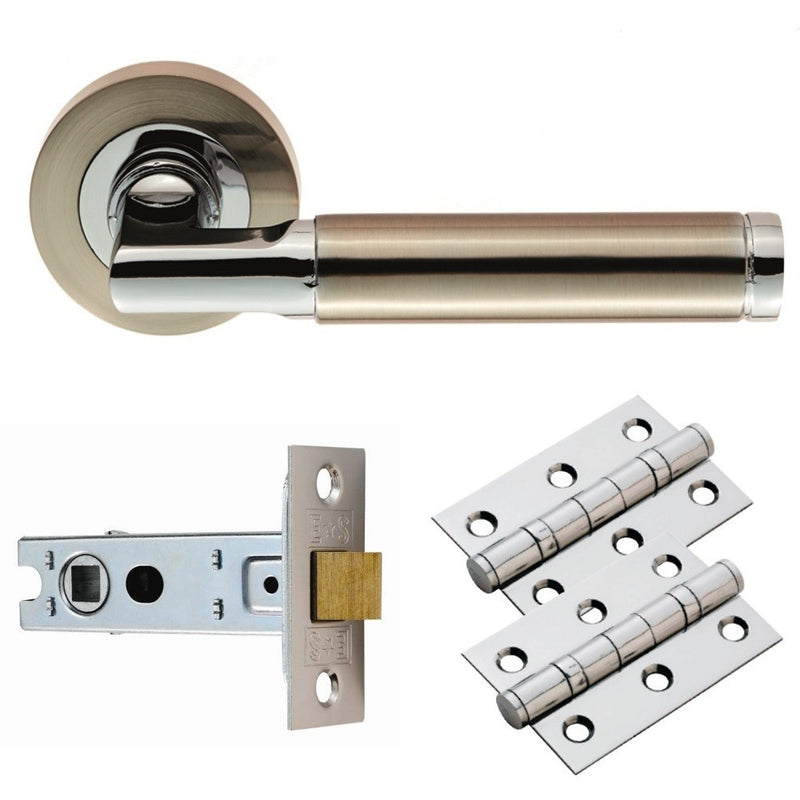 Belas Chrome/Nickel - Complete Door Handle Packs, Latch, Lock & Bathroom