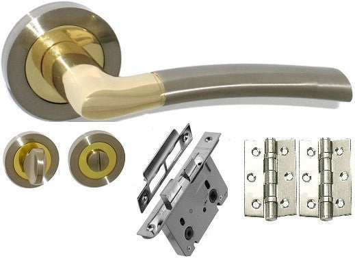 Door Handle Pack, Dual Finish Nickel & Brass - Bathroom Pack