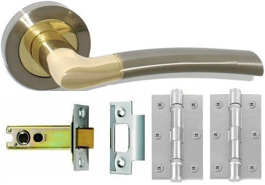 Door Handle Pack, Dual Finish Nickel & Brass - Latch Pack