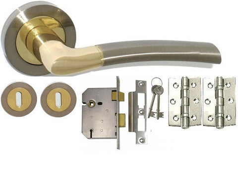 Door Handle Pack, Dual Finish Nickel & Brass - Lock Pack