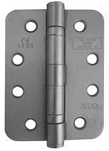 4 Inch Radiused Corner, Satin Chrome, Grade 11 Fire Rated Ball Bearing Hinges