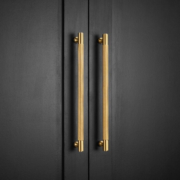 Knurled Solid Bar Cabinet, Cupboard Pull Handles - Satin Brass